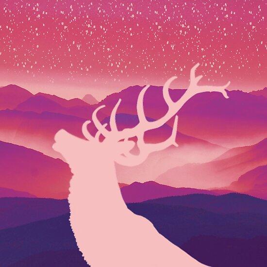 Oh Deer Purple Hills by IvonaVargek