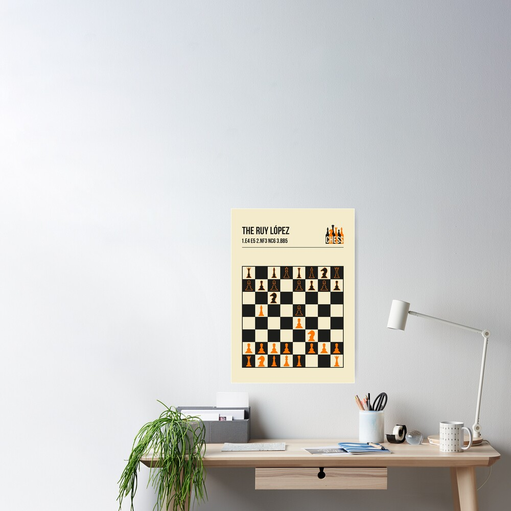 The Ruy Lopez Chess Opening in a vintage book cover poster style.  Poster