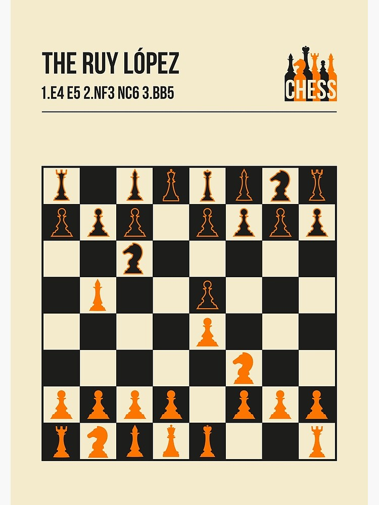 The Ruy Lopez Chess Opening in a vintage book cover poster style.  by jornvanhezik