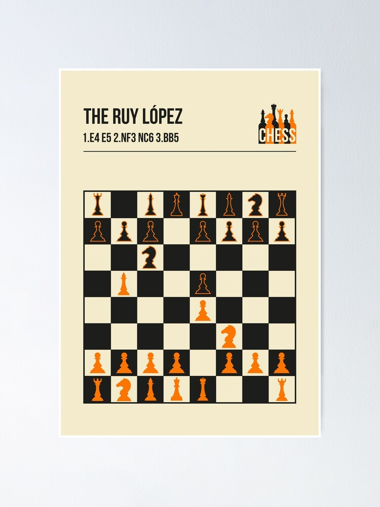 Alternate view of The Ruy Lopez Chess Opening in a vintage book cover poster style.  Poster