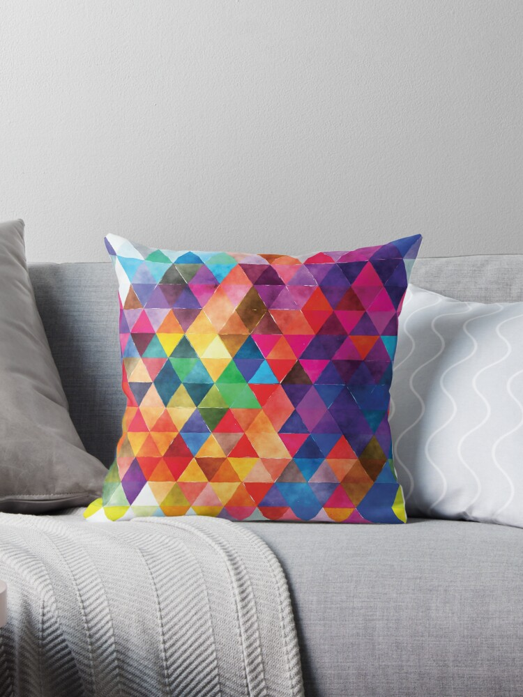 watercolor triangles pattern bright colors throw pillows by