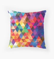 Watercolor Triangles Pattern Bright Colors Throw Pillow