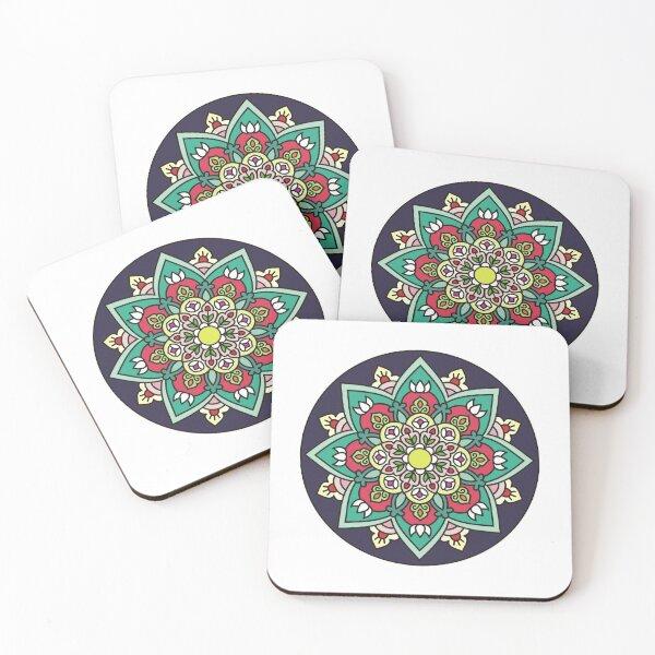 Violet floral mandala Coasters (Set of 4)