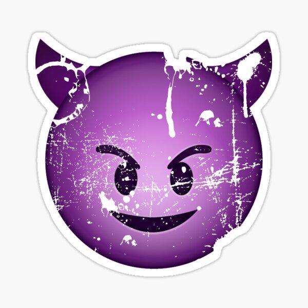 Cara de diablo emoji angustiado morado Pegatina