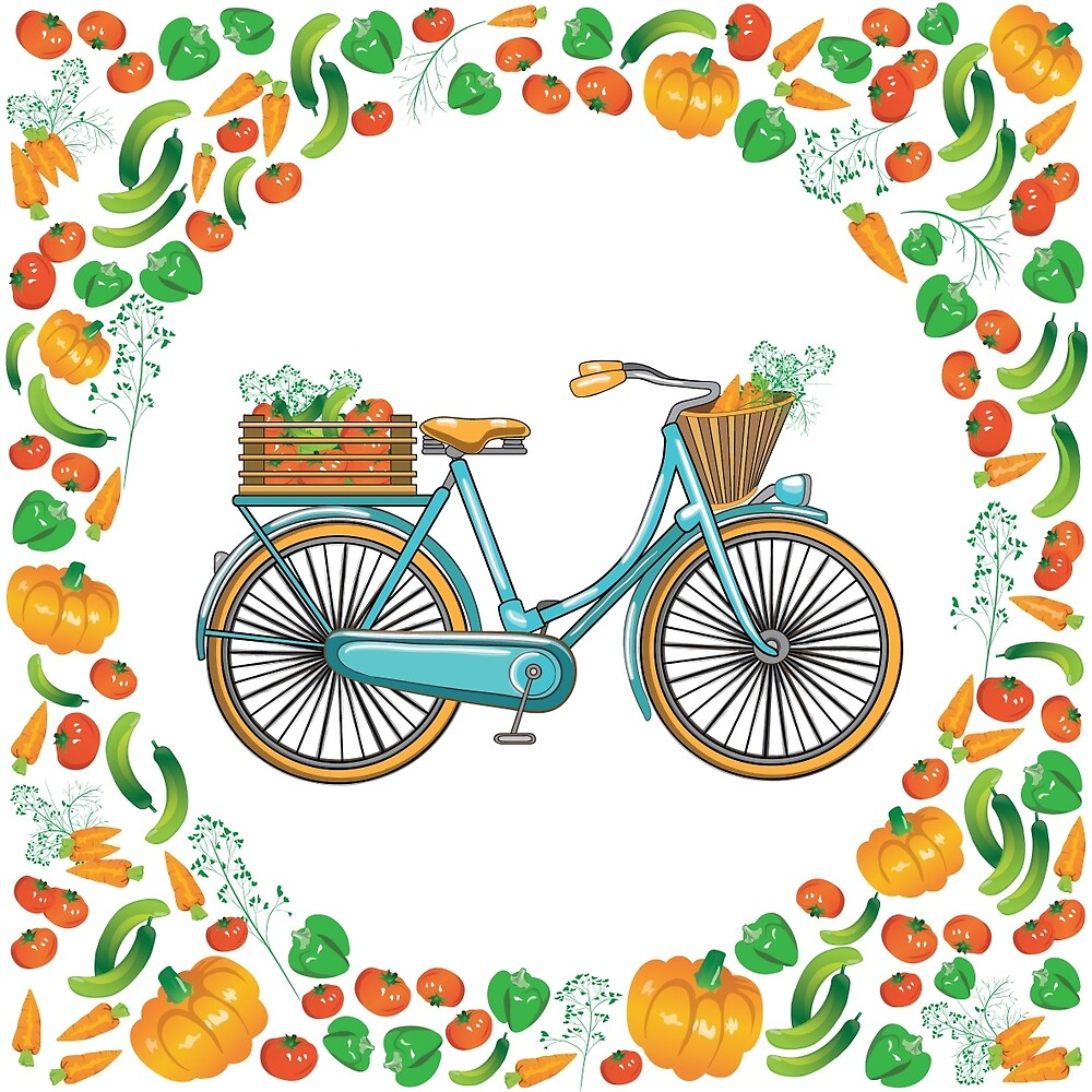 Postcard bike with a basket of vegetables by annaartday