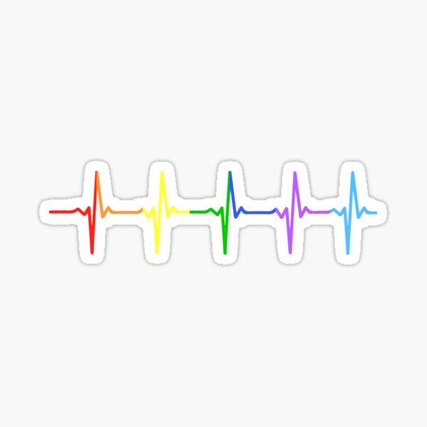 Rainbow Pulse Hearbeat LGBT Sticker