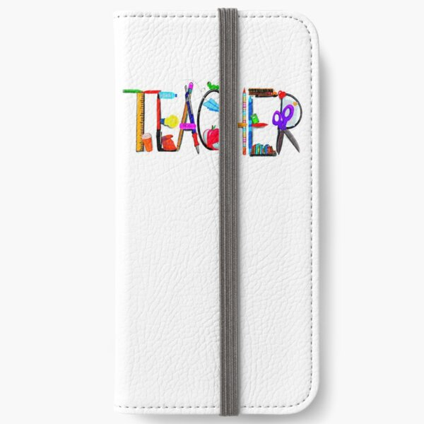 Teacher, apple, bus, book worm, books, pencil, coffee... iPhone Wallet