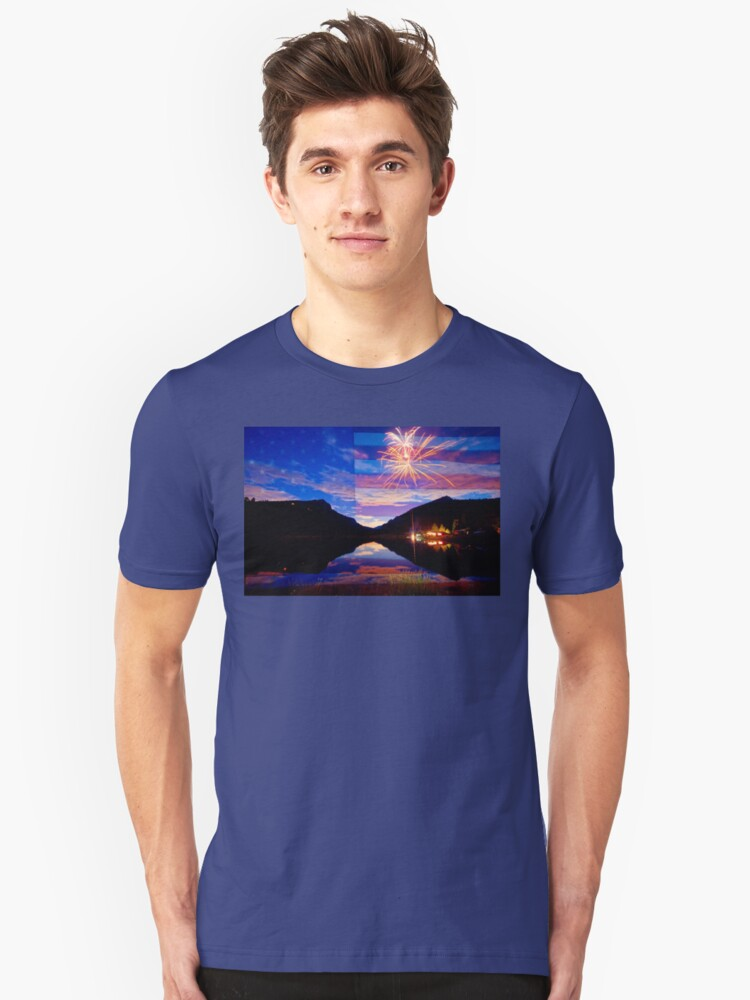 Rocky Mountain American Fireworks Show Unisex T-Shirt Front