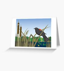 Red Wing Black Bird Perched on Reed in Wetland Marsh  Greeting Card