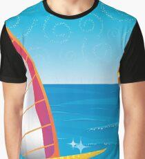 Tropical Lagoon Illustustration Graphic T-Shirt