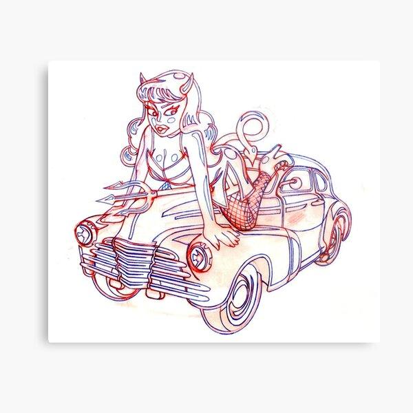 Retro Demon Girl Riding a Chevy (Sketch) Metal Print