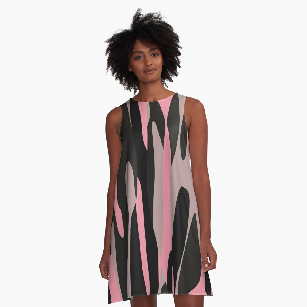 pink and black abstract camo A-Line Dress Front
