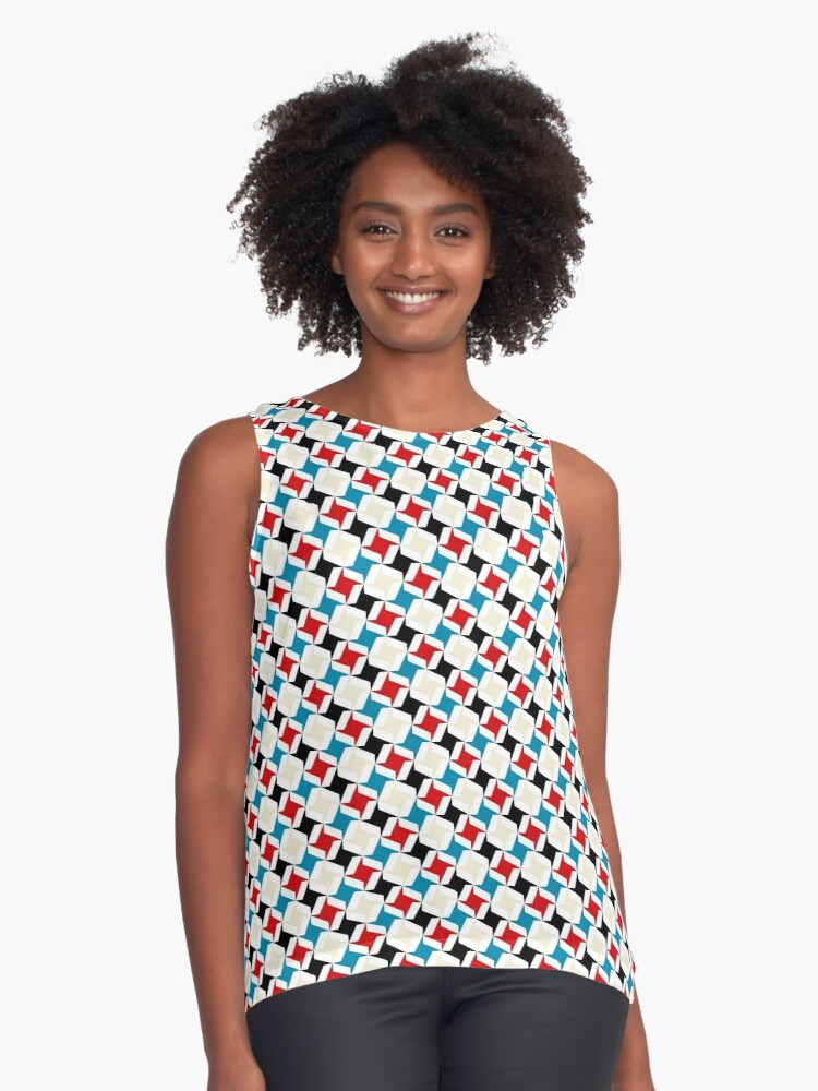 geometric pattern - seamless design - blue, red , grey Contrast Tank Front