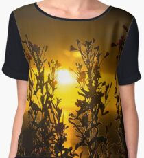 wild atlantic way sunset through wild flowers Women's Chiffon Top