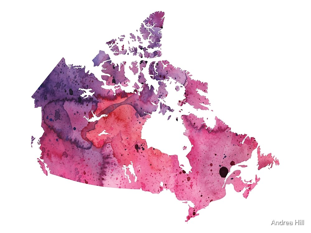 Map of Canada with A Watercolor Texture in Purple and Pink by Andrea Hill