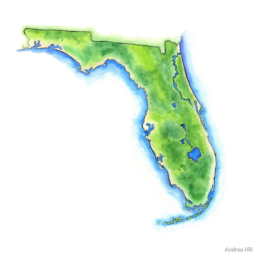 Hand Painted Watercolor Map Of The Us State Of Florida By Andrea