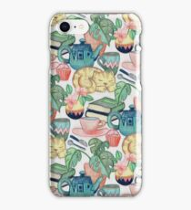 Lazy Afternoon - a chalk pastel illustration pattern iPhone Case/Skin