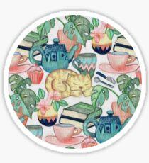 Lazy Afternoon - a chalk pastel illustration pattern Sticker