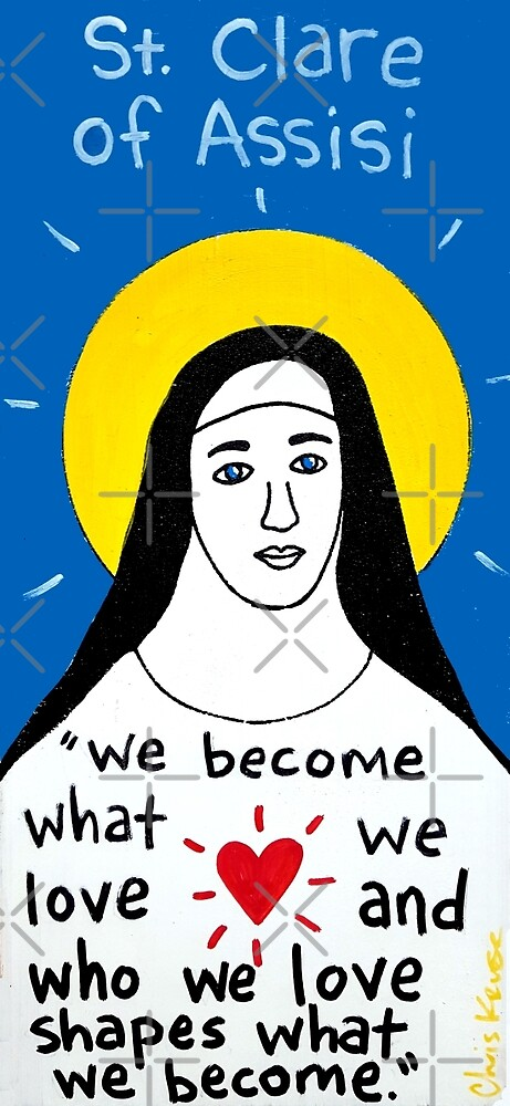 Saint Clare of Assisi pop folk art by krusefolkart