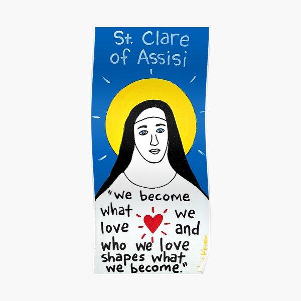 Saint Clare of Assisi pop folk art Poster