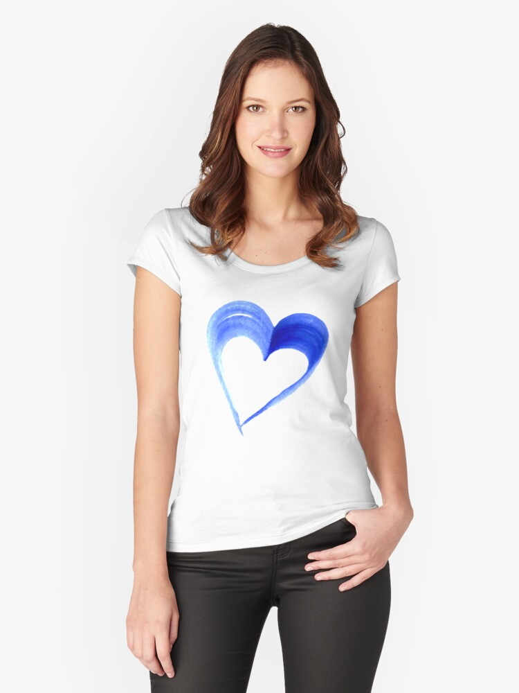 Blue Heart Water Colour Women's Fitted Scoop T-Shirt Front