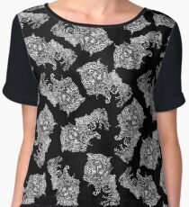 Dragon Cat Pattern Dark Women's Chiffon Top