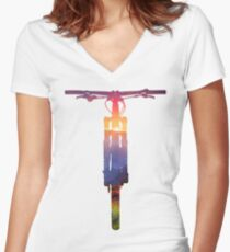Mountain Bike Sunset - MTB Collection #002 Women's Fitted V-Neck T-Shirt