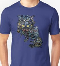 Dragon Cat Color on Black T-Shirt