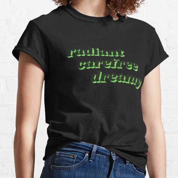 Neon Green Chat Noir Radiant Carefree Dreamy Quote with Black Background Classic T-Shirt