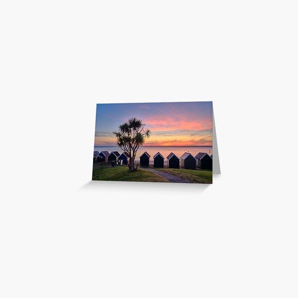 Gurnard Beach Hut Sunset Isle Of Wight Greeting Card