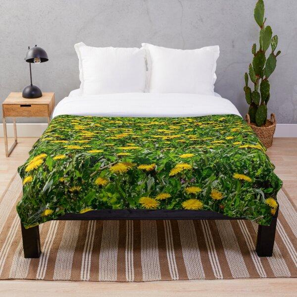 Yellow Dandelion Field Fine Art Photography Throw Blanket