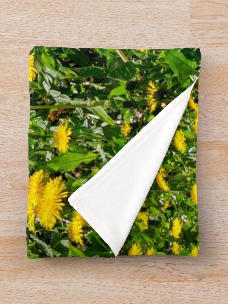 Alternate view of Yellow Dandelion Field Fine Art Photography Throw Blanket