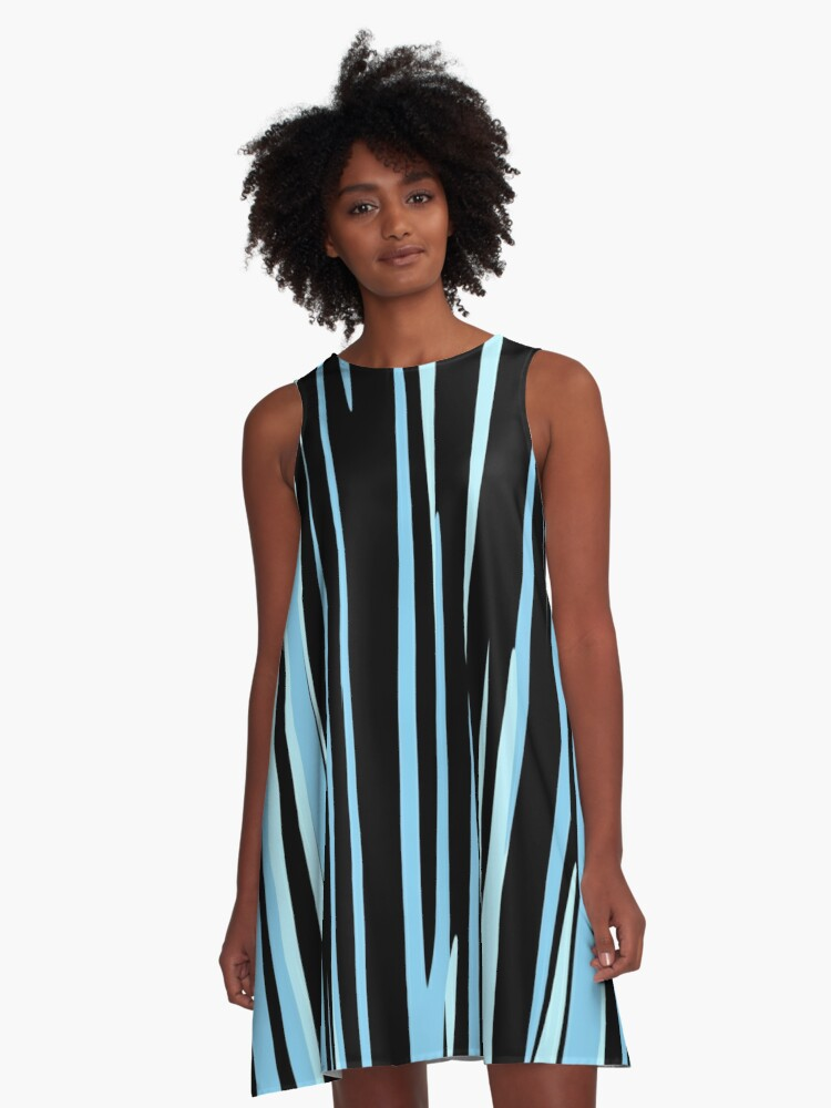 black and blue streaks A-Line Dress Front