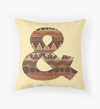Letter & Ampersand Leather Look Pattern Tribal Ethnic Monogram Initial Throw Pillow