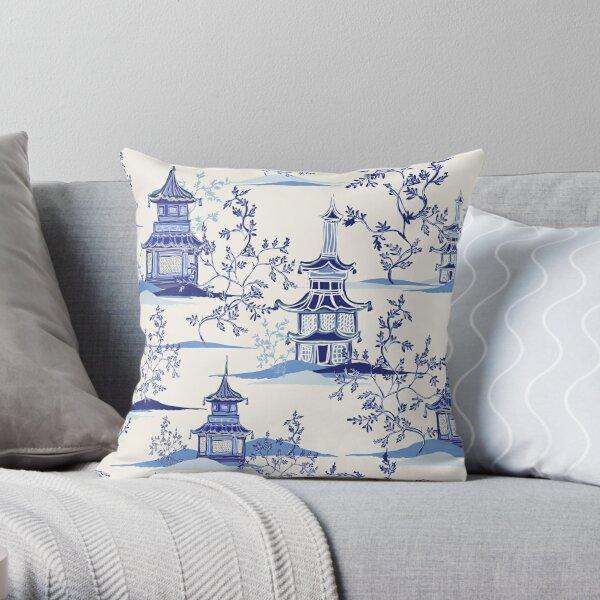 Chinoiserie Tea House Vintage Art Throw Pillow