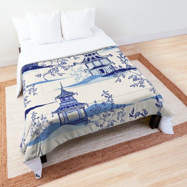 Chinoiserie Tea House Vintage Art Comforter