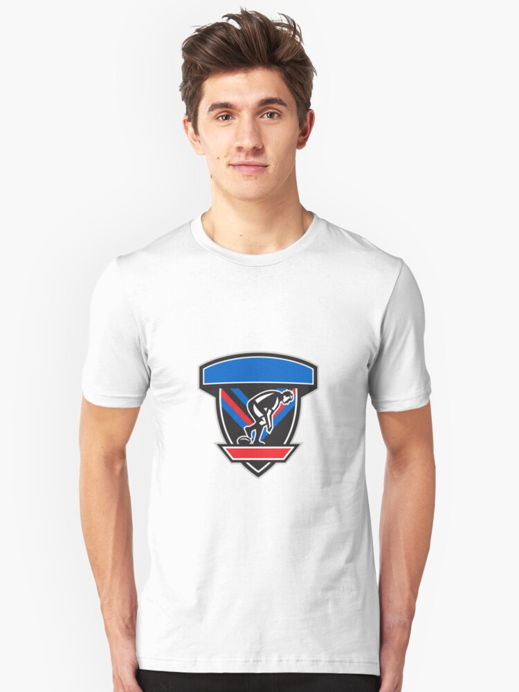 Rugby League Player Playing Ball Side Shield Retro Unisex T-Shirt Front