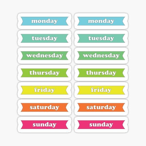 Colorful Rainbow Weekdays Planner Stickers Sticker