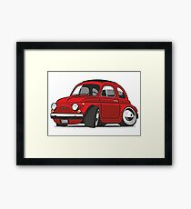 Fiat 500R caricature red Framed Print