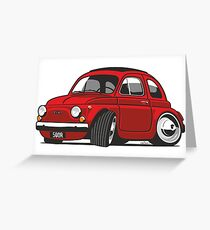 Fiat 500R caricature red Greeting Card