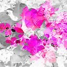 Abstract pink floral art (bougainvillea) by cesarpadilla