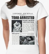 Toad Arrested Newspaper Womens Fitted T-Shirt