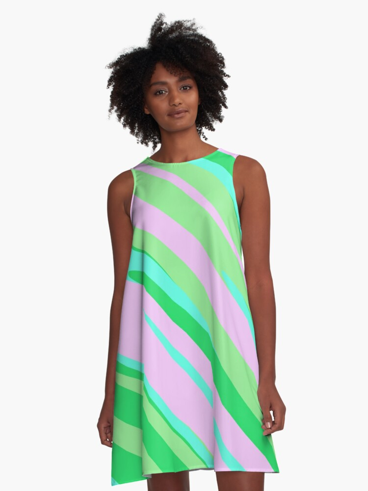 Pink Green and Turquoise stripe abstract A-Line Dress Front