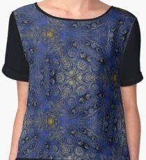 Intricate Blue Lacy Pattern Women's Chiffon Top