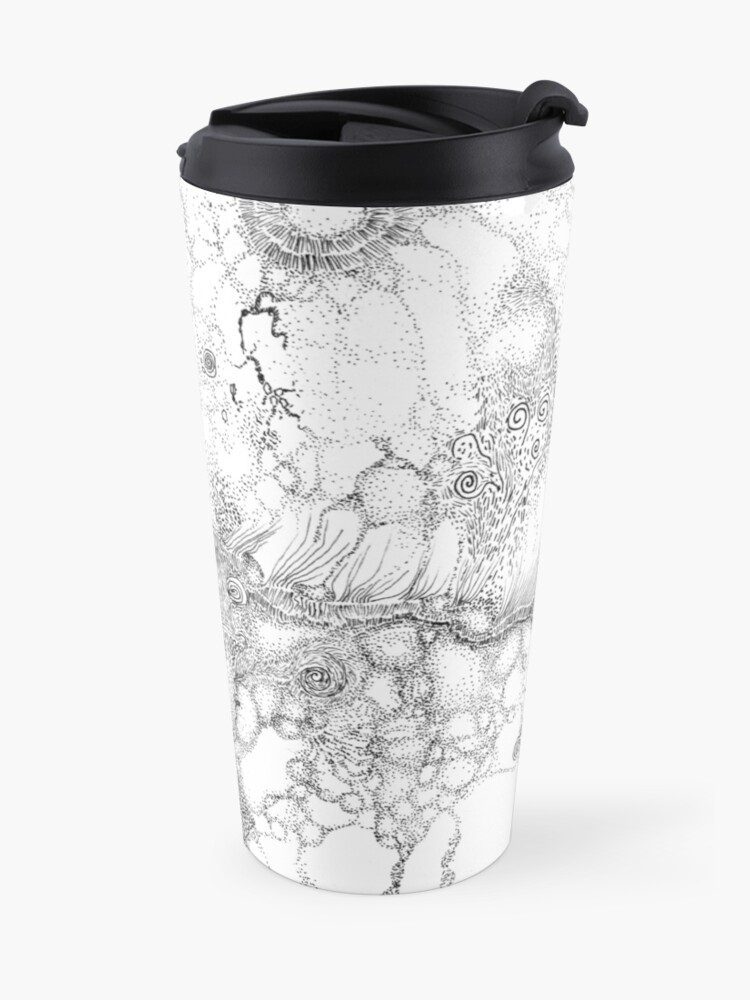 Alternate view of Bacteriophage ballet, ink drawing on paper by Regina Valluzzi Travel Mug