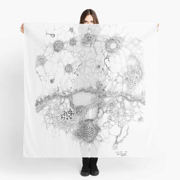 Bacteriophage ballet, ink drawing on paper by Regina Valluzzi Scarf
