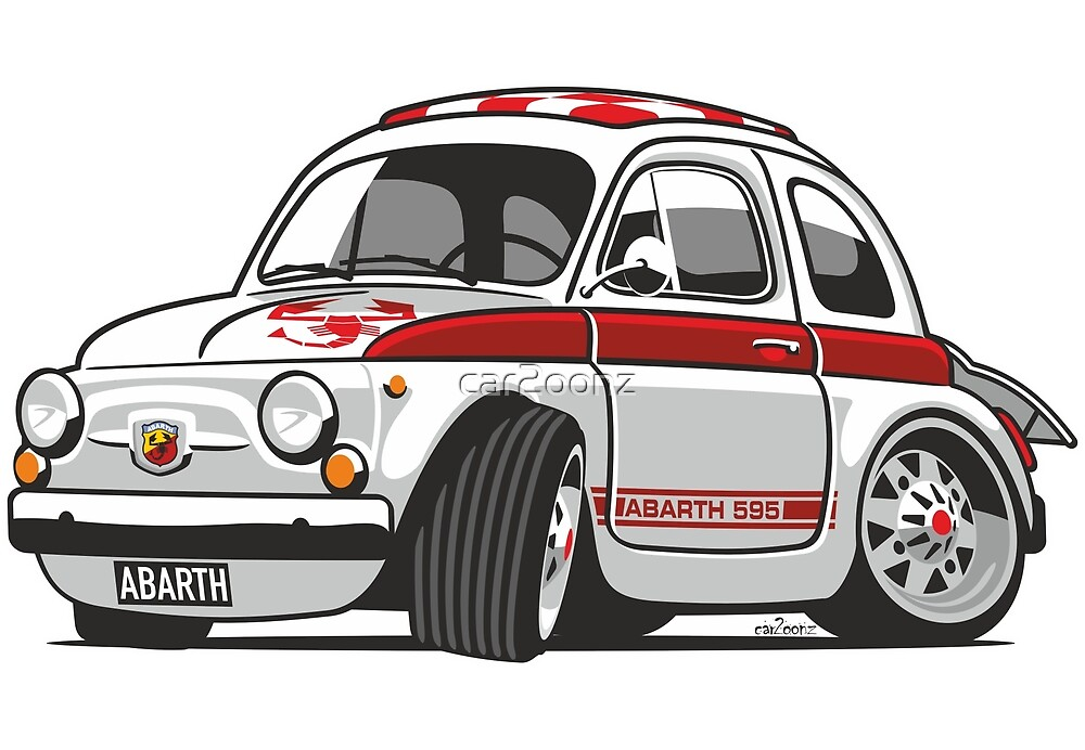 Fiat Abarth 595 caricature by car2oonz
