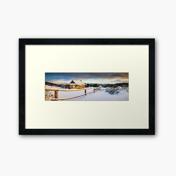 Craigs Hut Winter Sunrise, Mt Stirling, Victoria, Australia Framed Art Print