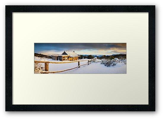 Craigs Hut Winter Sunrise, Mt Stirling, Victoria, Australia by Michael Boniwell