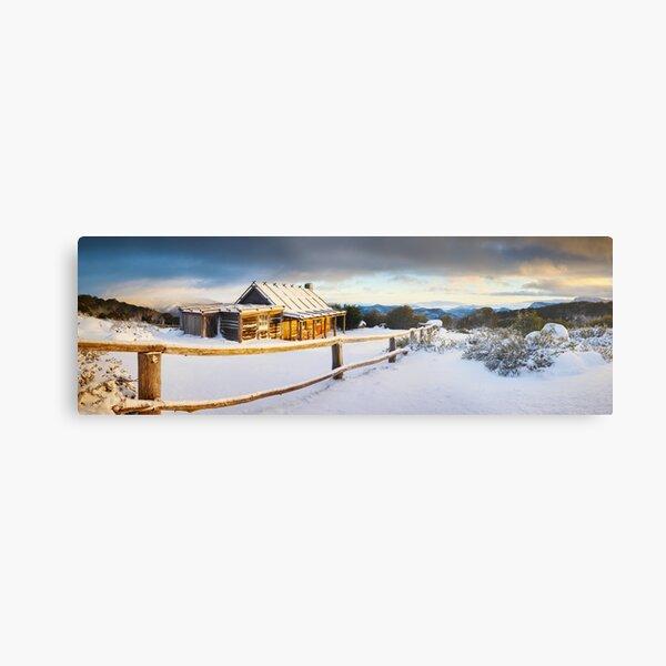 Craigs Hut Winter Sunrise, Mt Stirling, Victoria, Australia Metal Print